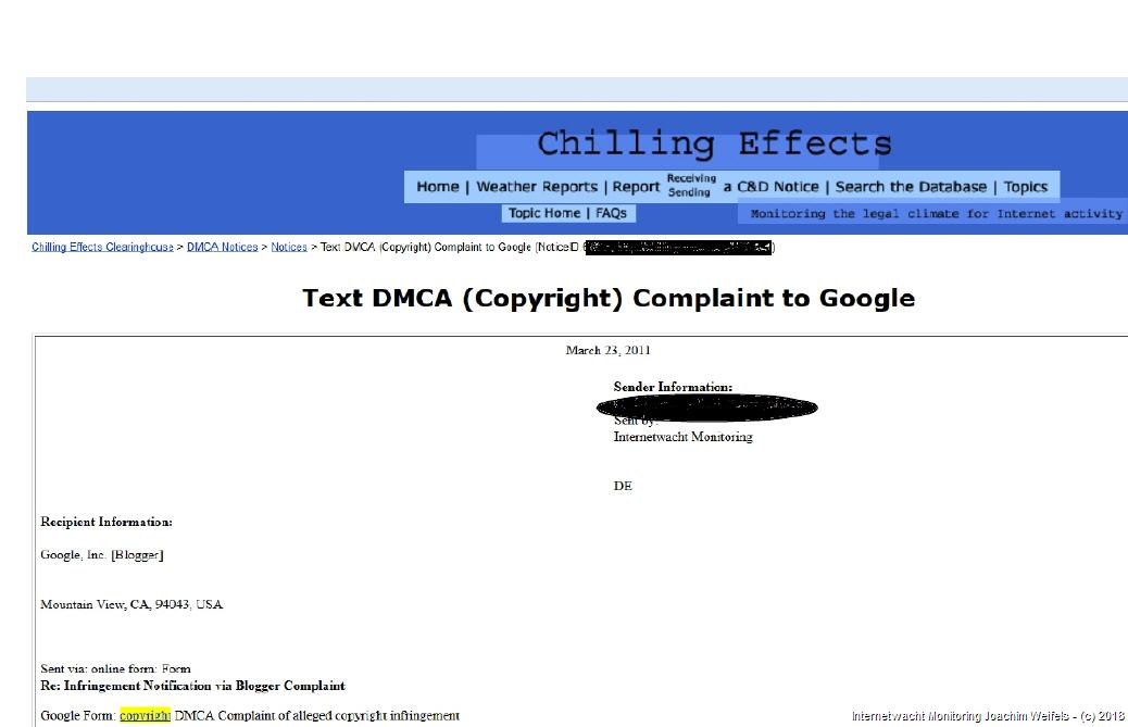 DMCA: Chilling Effects